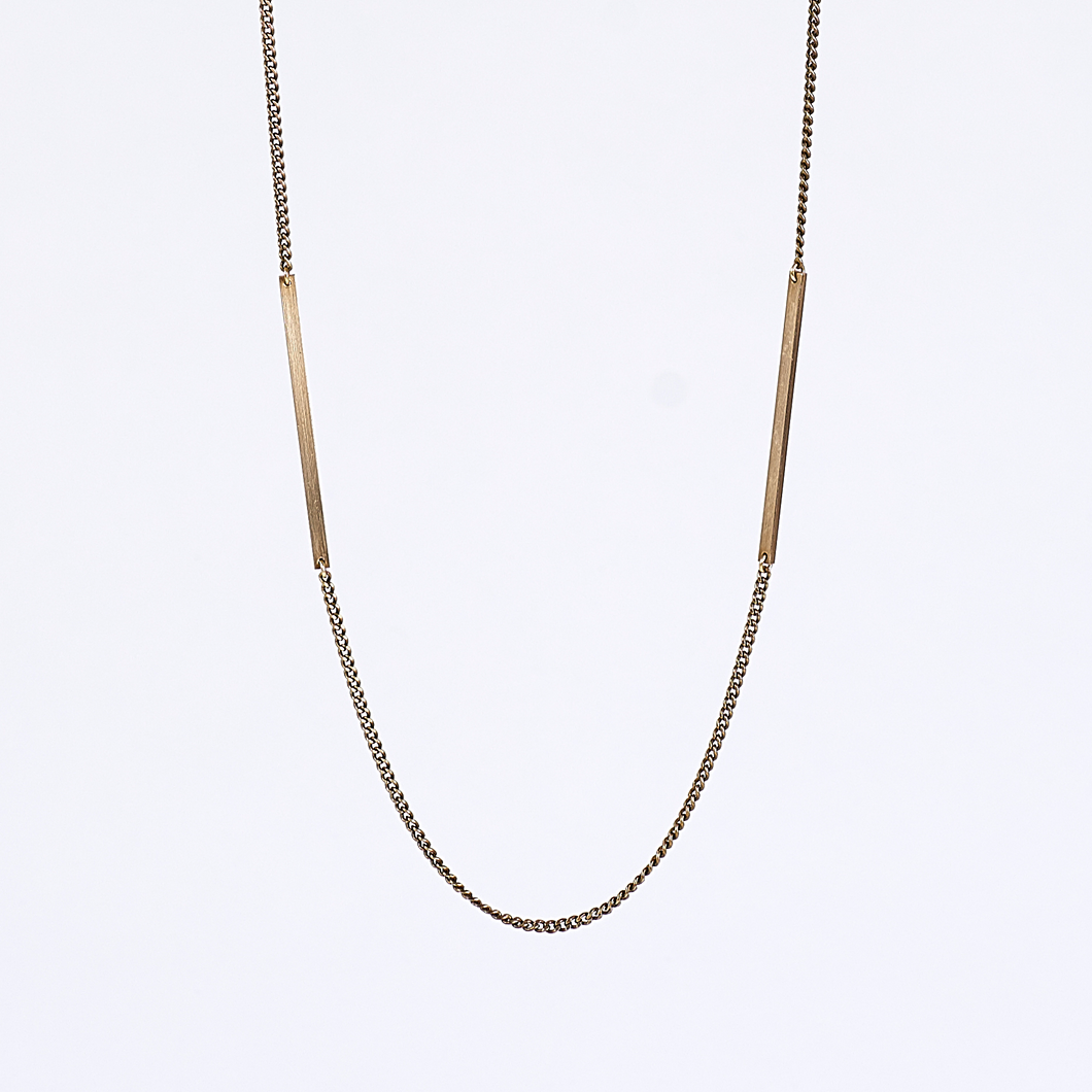 handcrafted edgy beam brass necklace