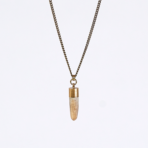 nature horn brass necklace #1