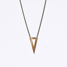 edgy triangle M brass necklace #2