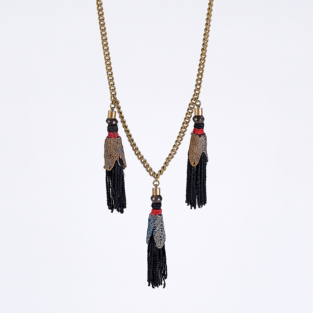 gipsy turkey tassel L brass necklace #2