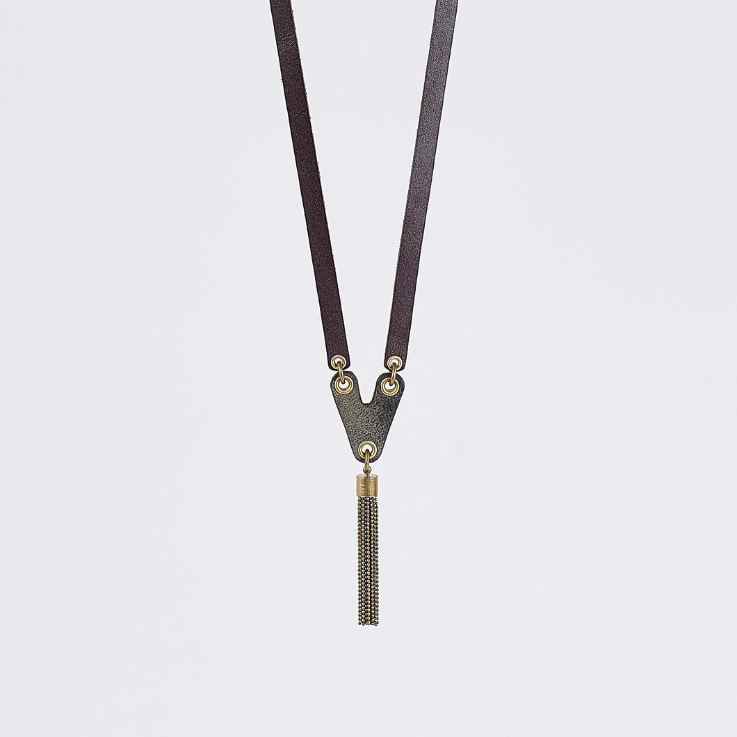 strapped tassel brass necklace #1