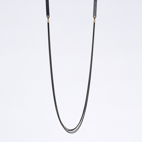 strapped messy S brass necklace #1