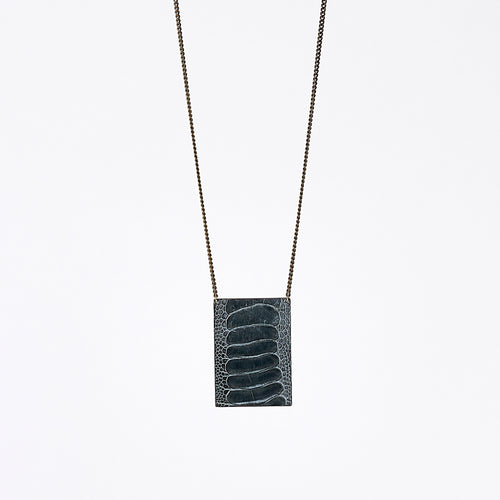 shield ostrich grey brass necklace #1