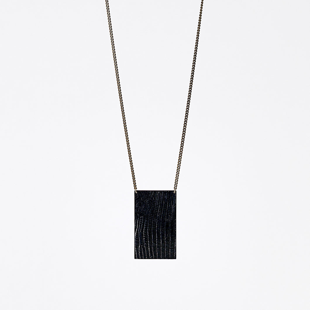 shield ostrich black brass necklace #6
