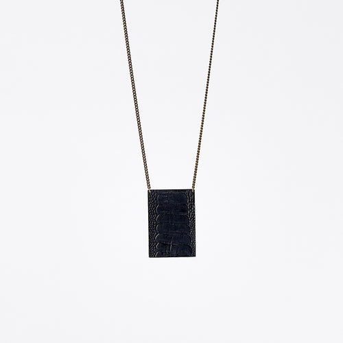 shield ostrich black brass necklace #5