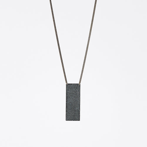 shield ostrich grey brass necklace #2