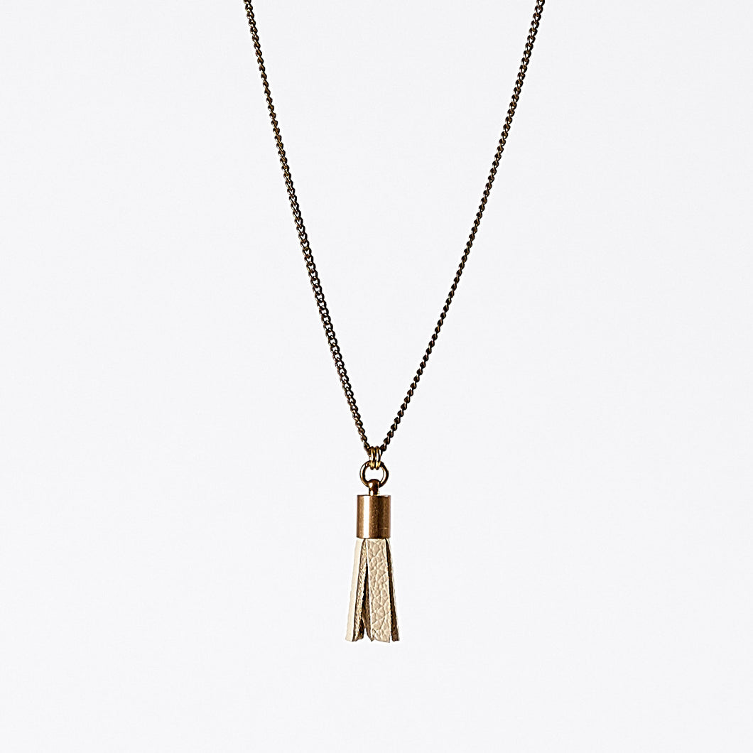 tassel leather S brass necklace #2