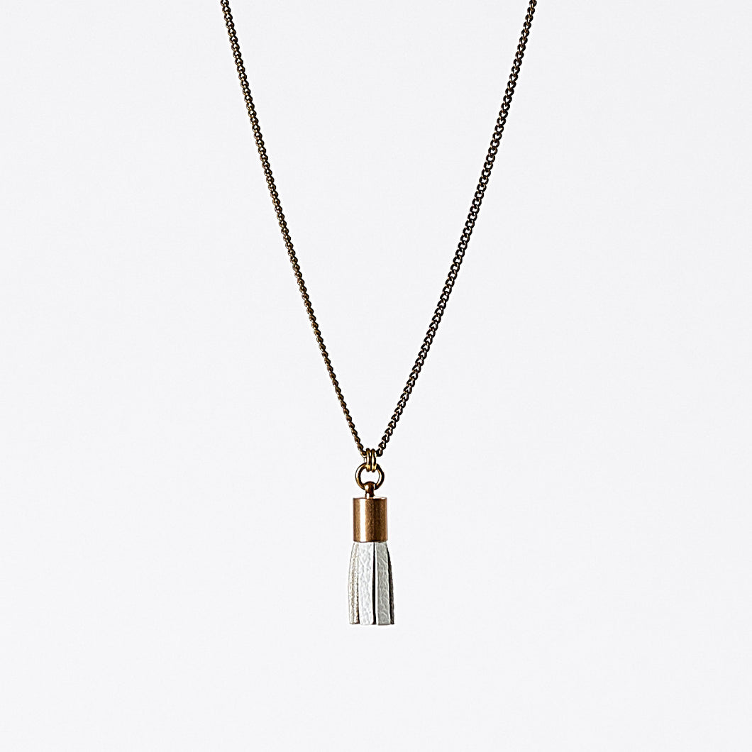 tassel leather S brass necklace #1