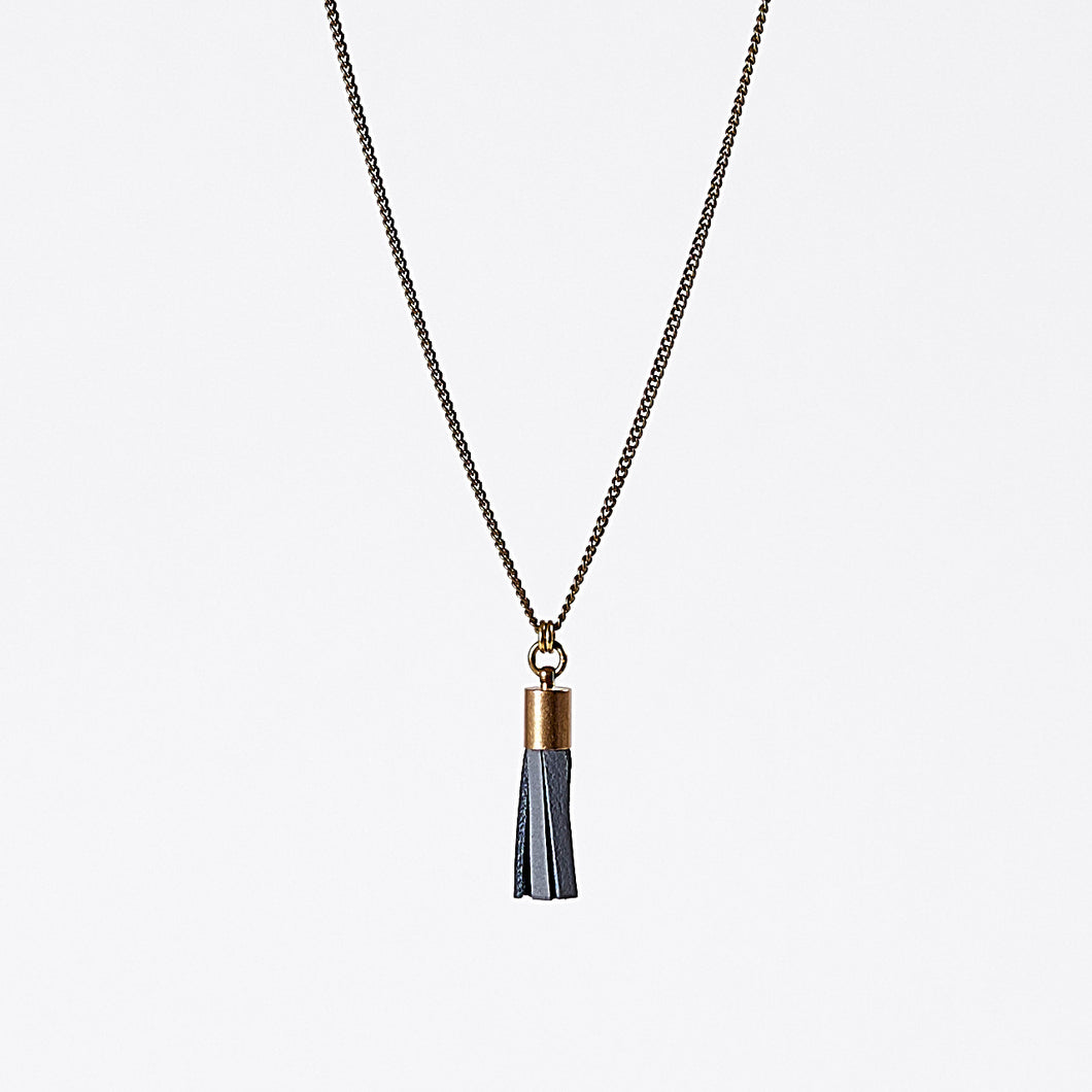 tassel leather S brass necklace #4