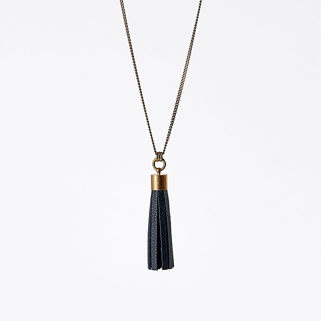 tassel leather XL brass necklace #2