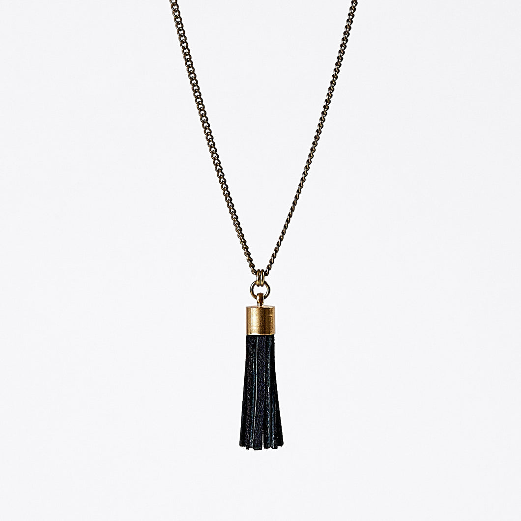 tassel leather L brass necklace #3
