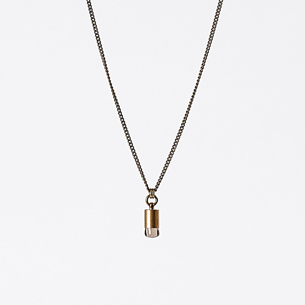nature quartz brass necklace #1