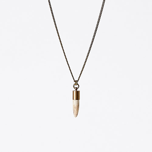 nature horn M brass necklace #1
