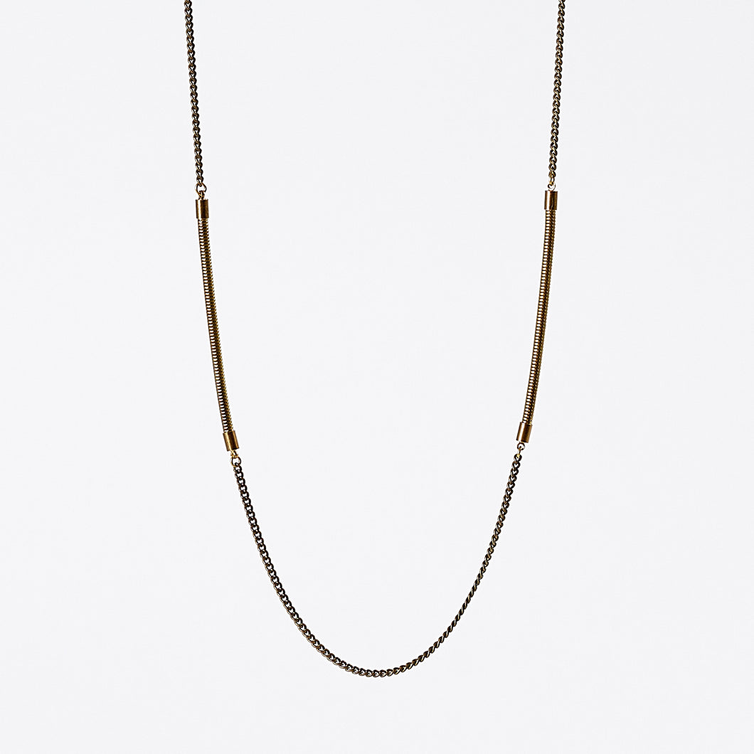 treasure snake chain dual brass necklace #1