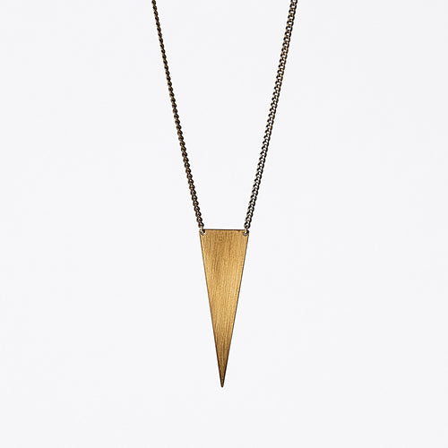 edgy triangle L brass necklace #2 by ronijewelry