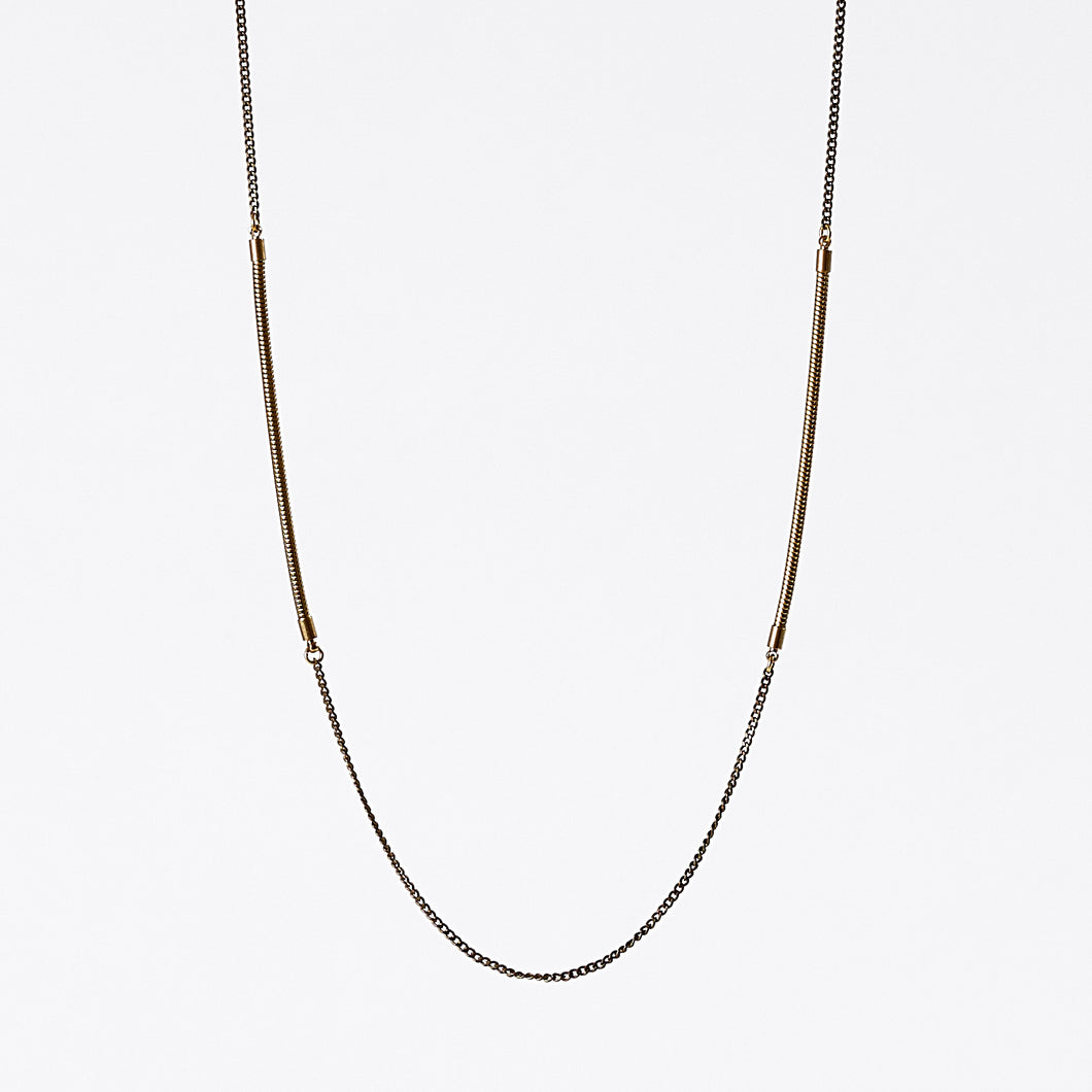 treasure snake chain dual brass necklace #2