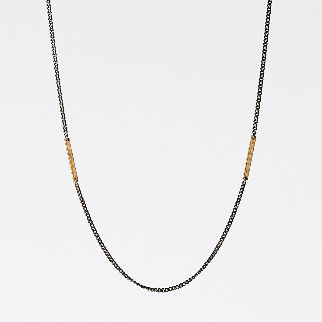 edgy beam dual brass necklace #2 by ronijewelry