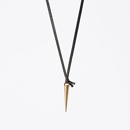 strapped light pieces spike brass necklace #1