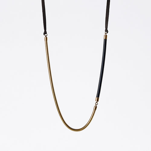 strapped light snake chain brass necklace #1