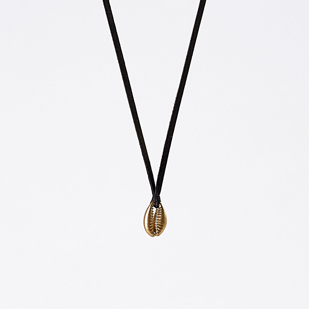 strapped light shell brass necklace #2