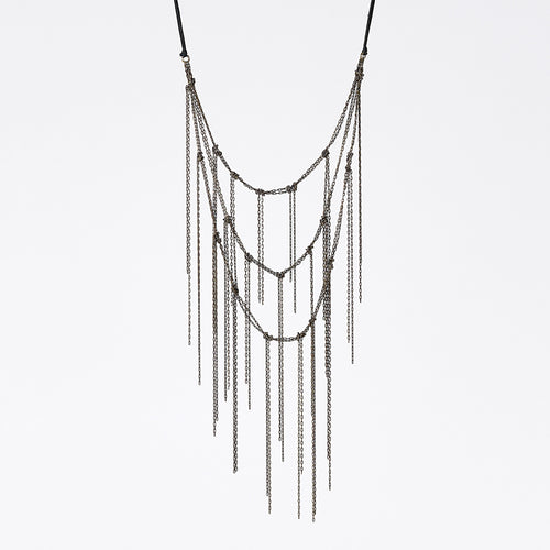 strapped light fringes brass necklace #1