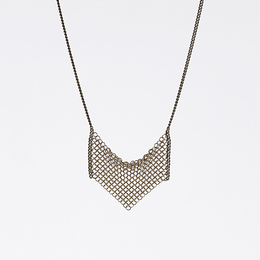 waterfall ring mesh brass necklace #4