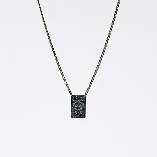 shield ostrich grey brass necklace #4