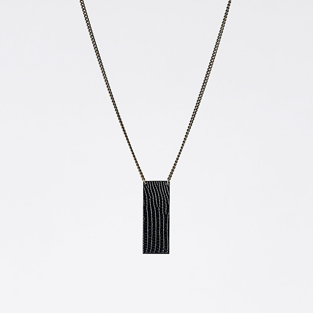 shield ostrich black brass necklace #3