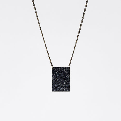 shield ostrich black brass necklace #2