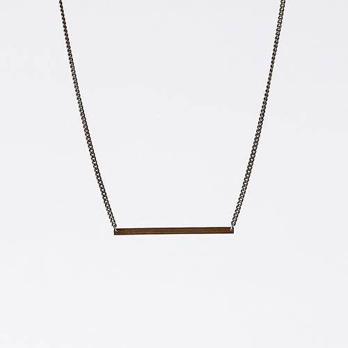 edgy beam horizontal brass necklace #1 by ronijewelry