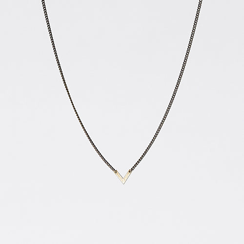 edgy triangle S brass necklace #1