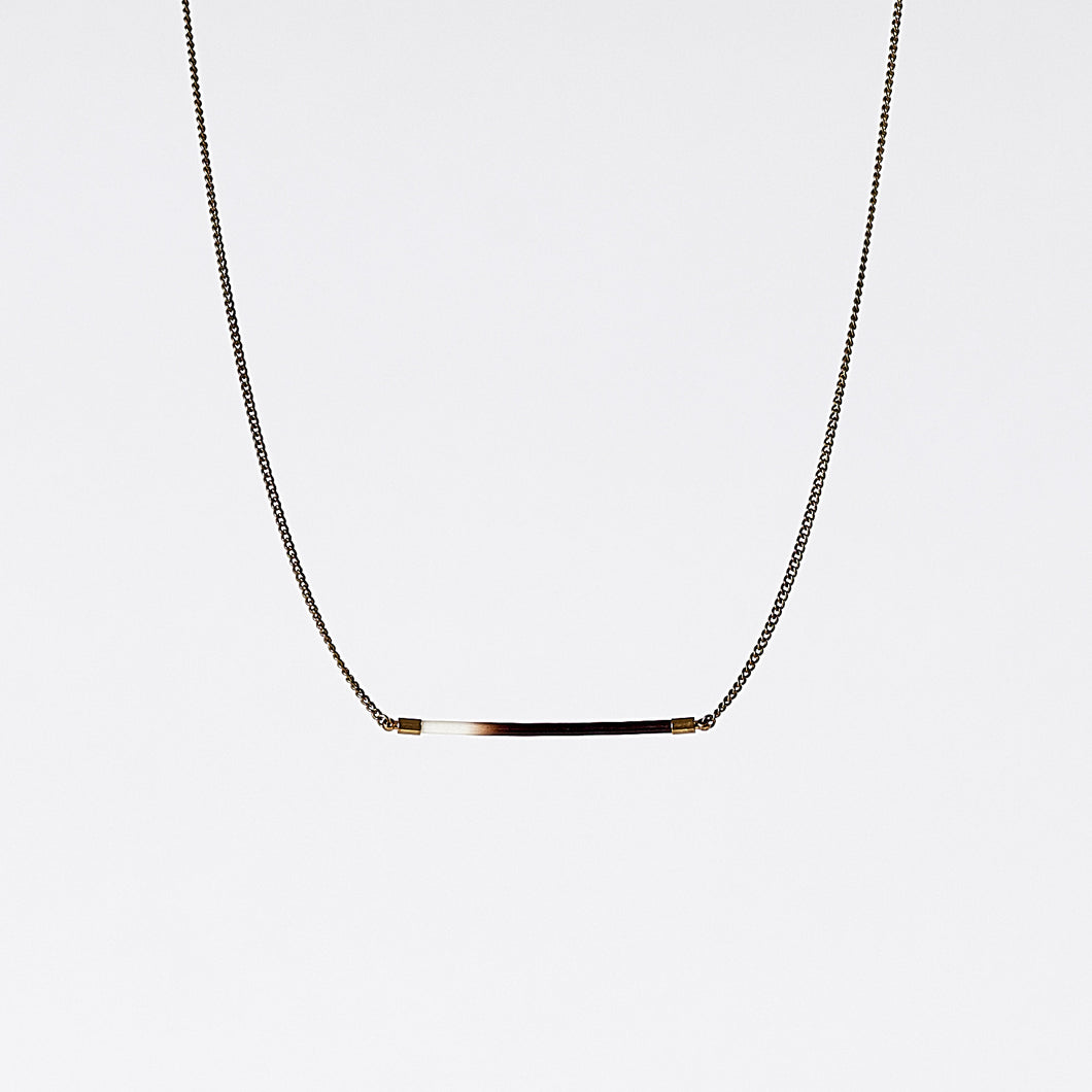 nature porcupine horizontal brass necklace #2