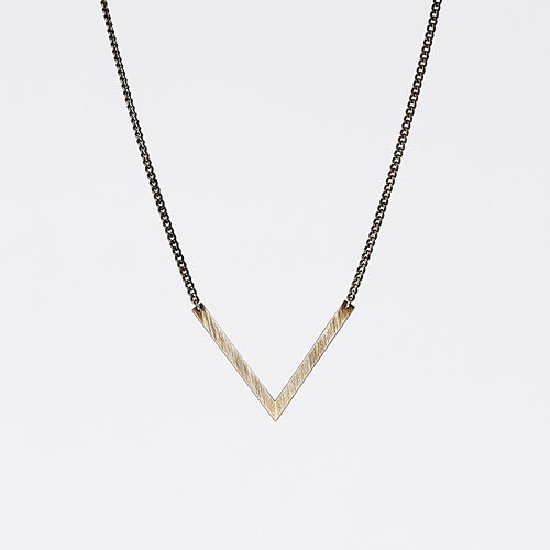 edgy triangle L brass necklace #1 by ronijewelry