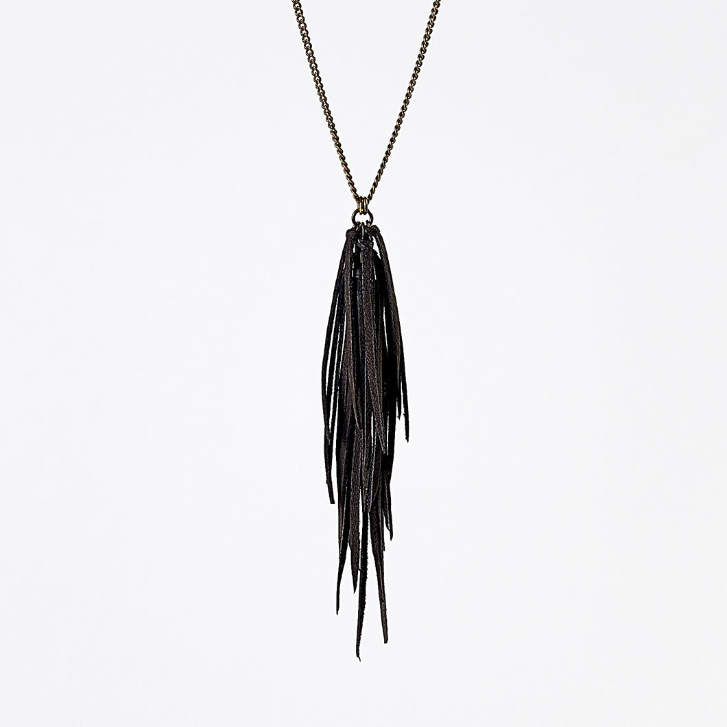 fringes leather black brass necklace #3