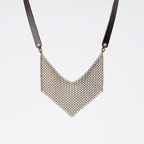 strapped ring mesh brass necklace #1