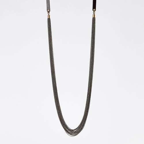strapped messy M brass necklace #1