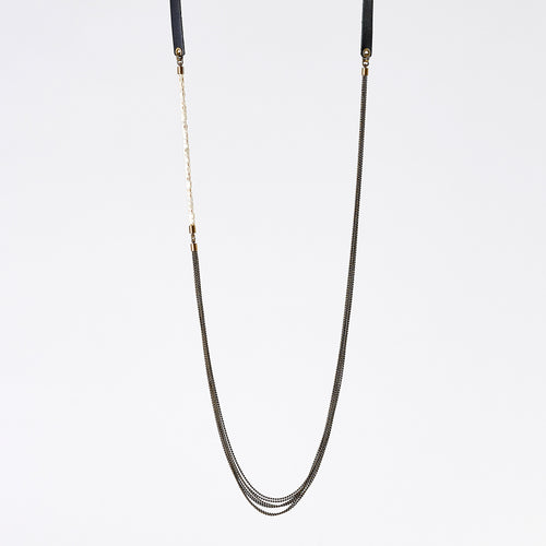 strapped messy S fishbone brass necklace #1