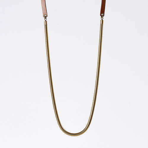 strapped snake chain brass necklace #1