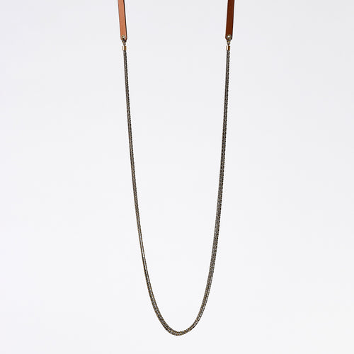 strapped messy S brass necklace #2