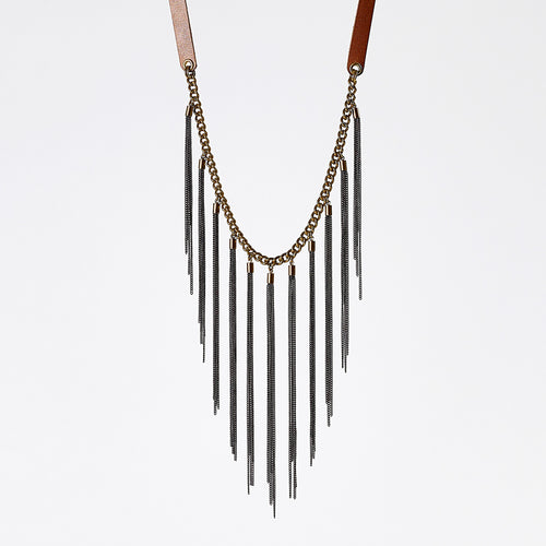 strapped native brass necklace #2