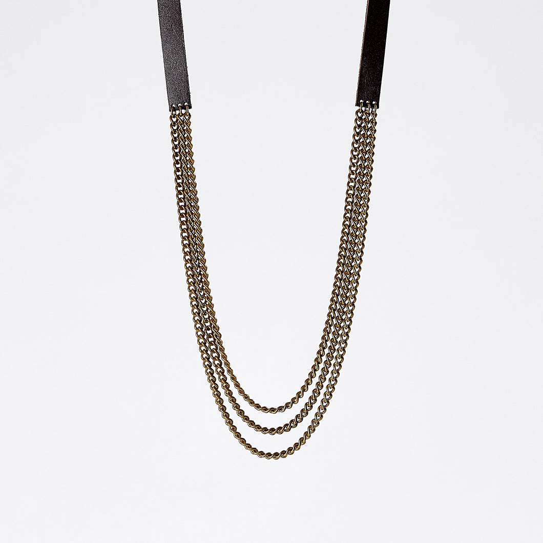 strapped tidy brass necklace #2