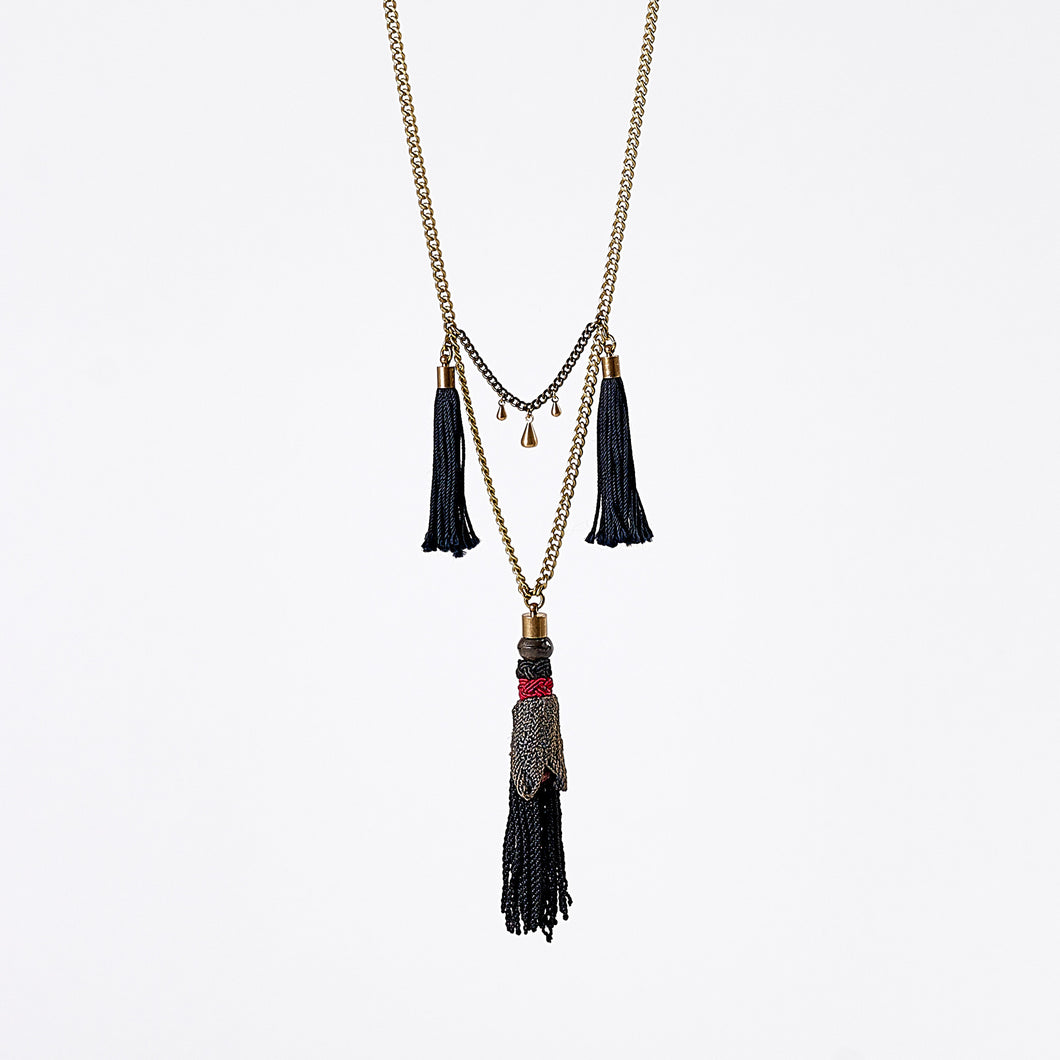 gipsy turkey tassel M brass necklace #1