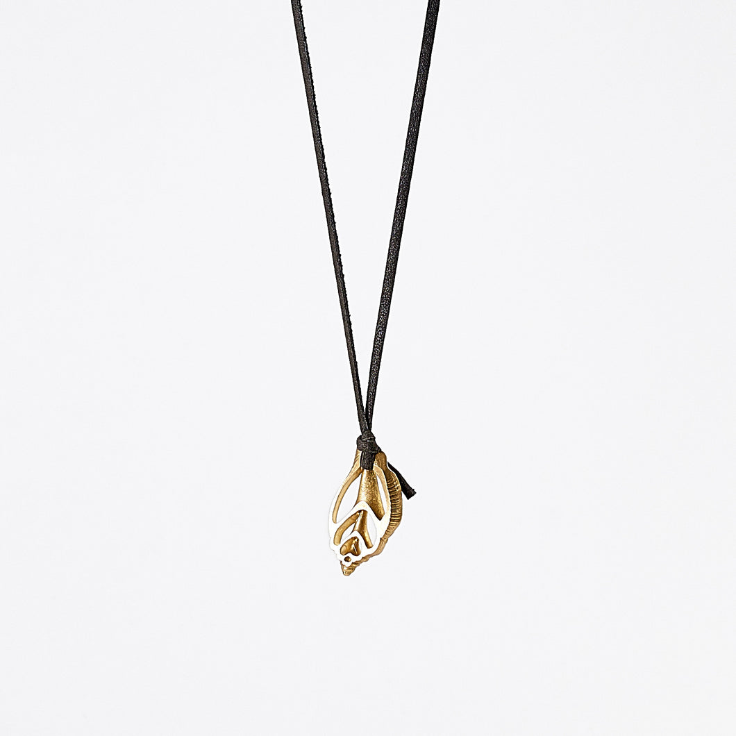 strapped light shell brass necklace #1