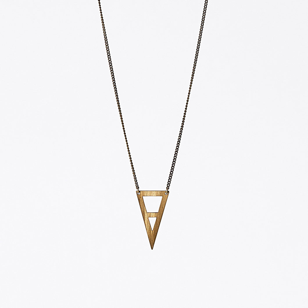 edgy triangle M brass necklace #1