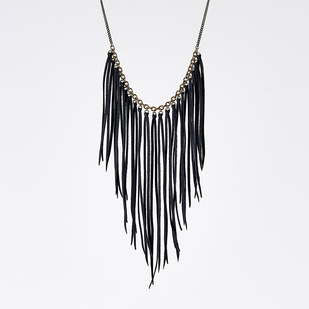 fringes leather black brass necklace #1