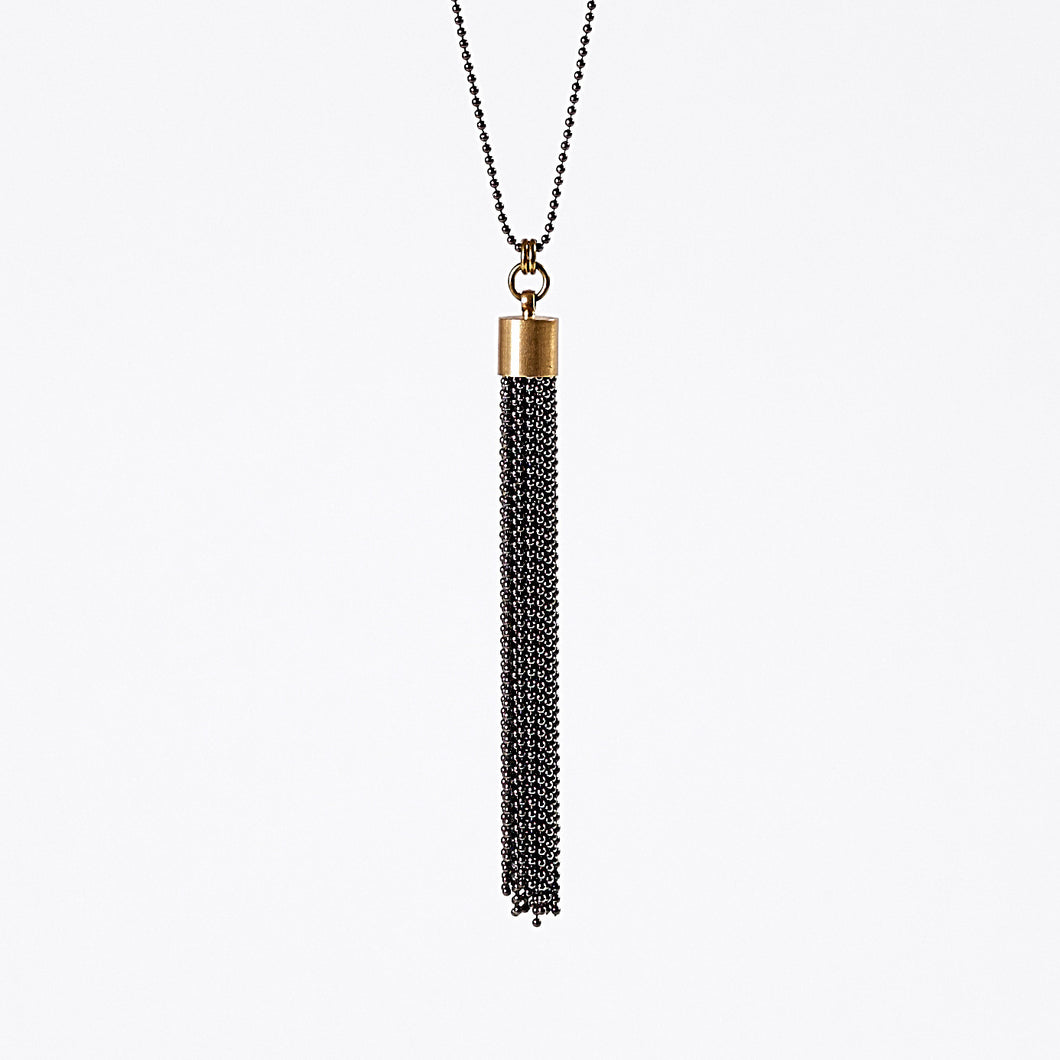 tassel ball chain L brass necklace #2