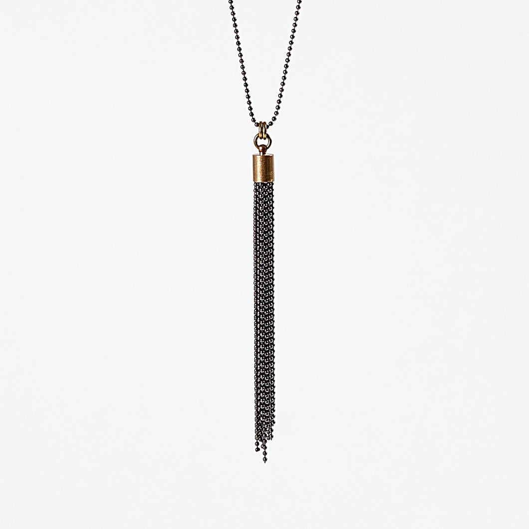 tassel ball chain M brass necklace #1