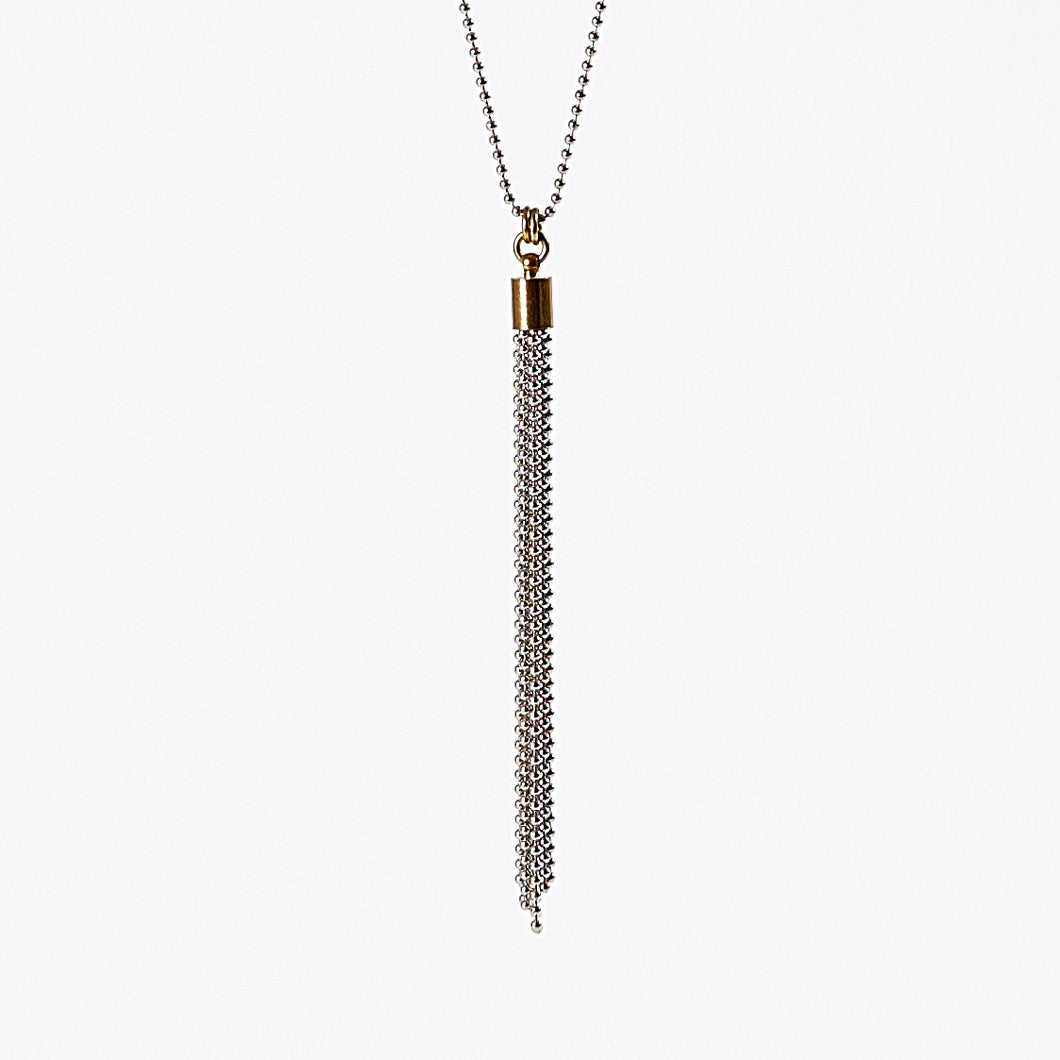 tassel ball chain S brass necklace #1
