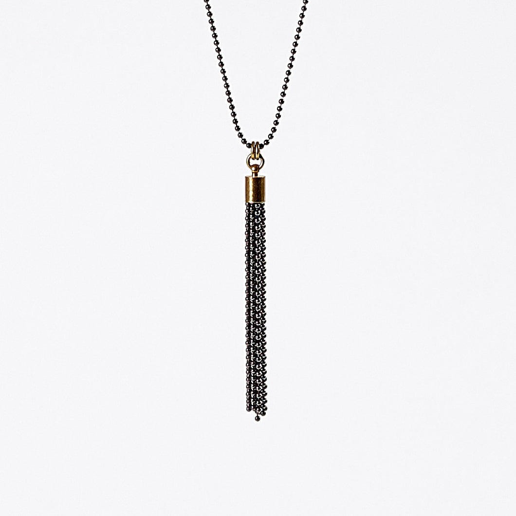 tassel ball chain S brass necklace #2