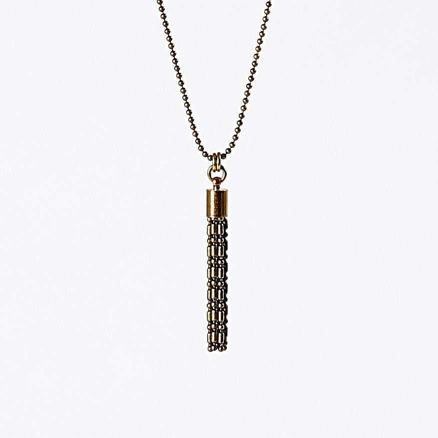 tassel ball chain S brass necklace #8